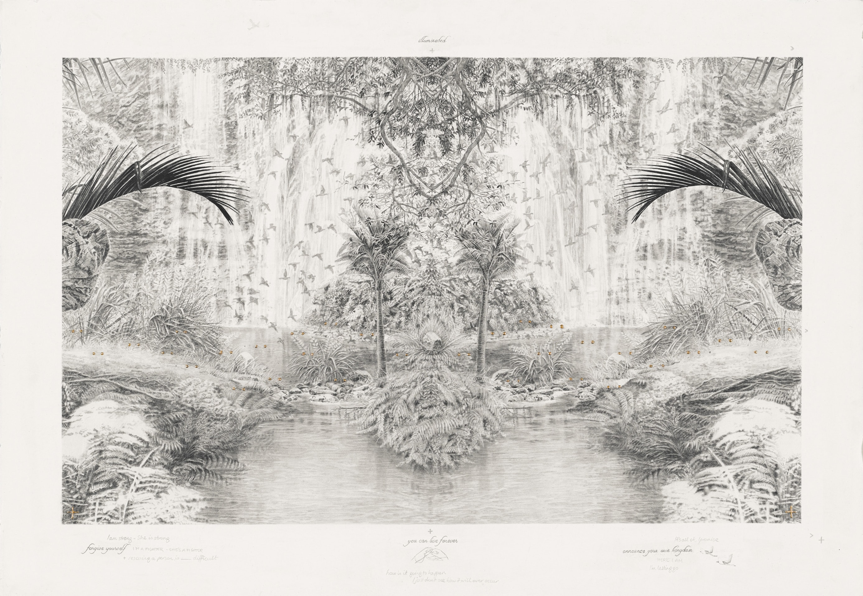 Becc Ország, Announce your kingdom (you can live forever), 2017, graphite pencil and 24kt gold leaf on paper, 52x75cm