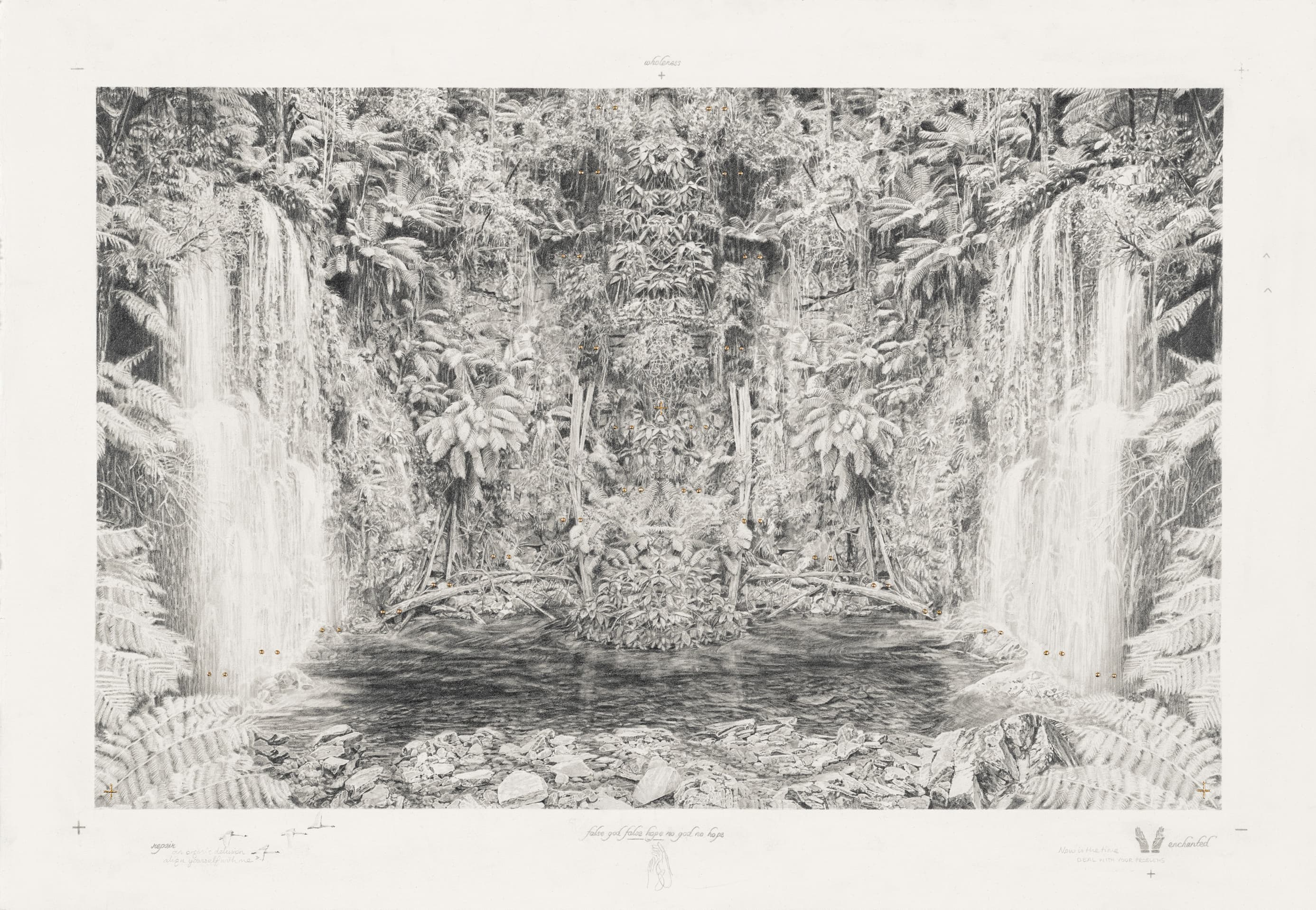 Becc Ország, Hope (align yourself with me), 2017, graphite pencil and 24kt gold leaf on paper, 52x75cm