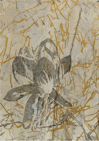Belinda Fox, August Bloom I, 2010, Intaglio, screenprint, hand staining on paper, 91x70cm, ed of 15