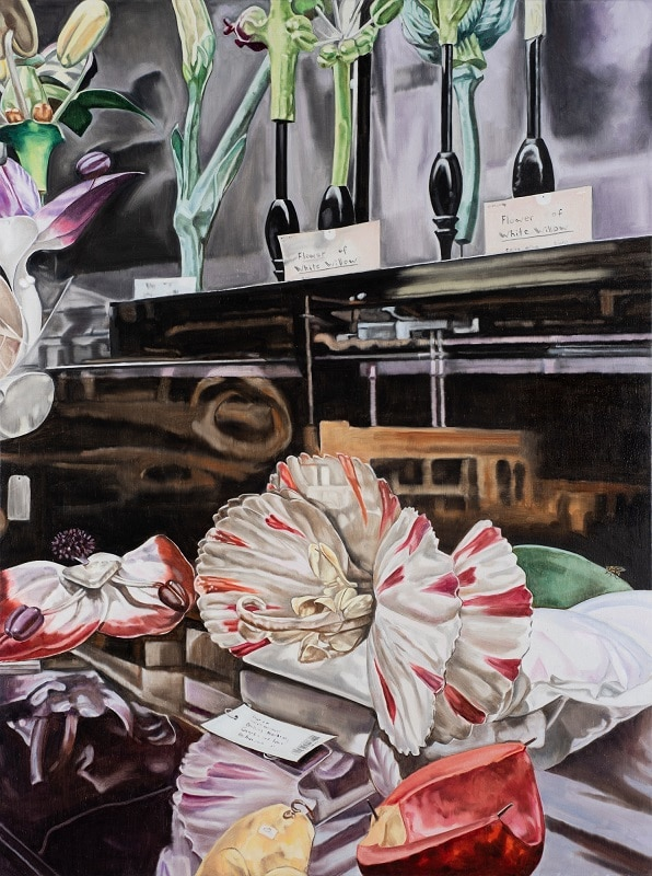 Dena Kahan, Still life with Dianthus and White Willow