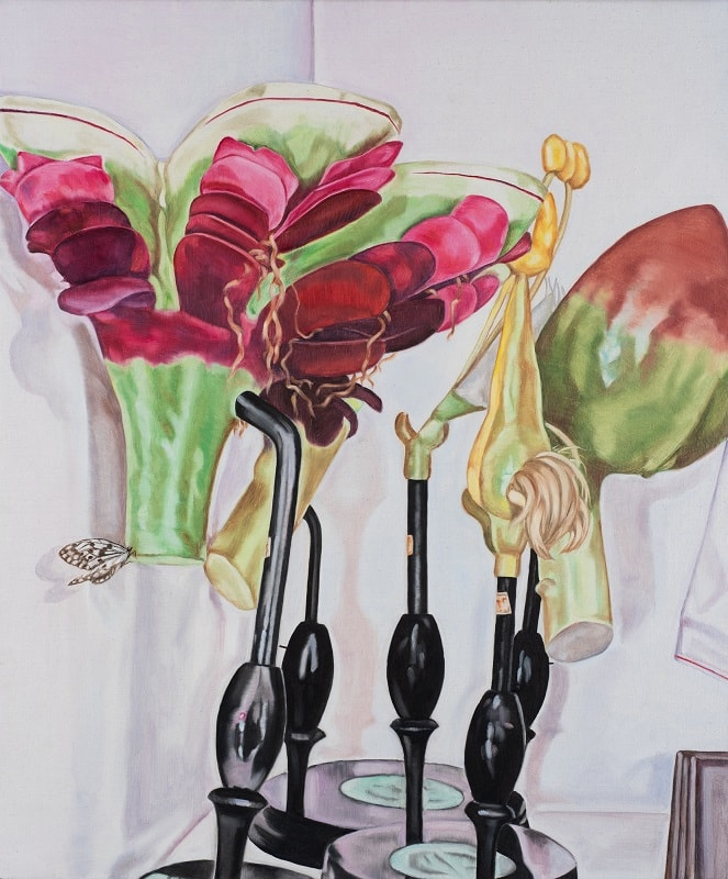 Dena Kahan, Still life with Marcantia and butterfly