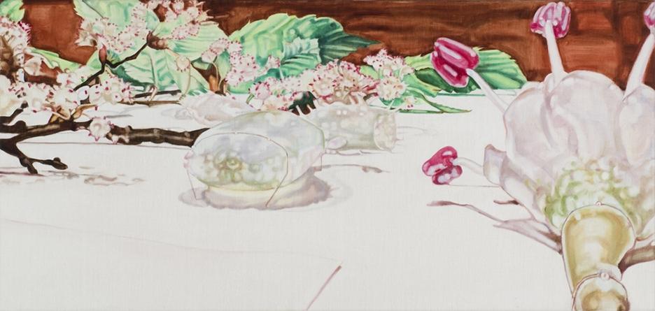Dena Kahan, Glass Garden #4, 2010, oil on linen, 51x107cm