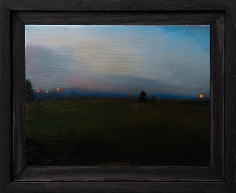 Kirrily Hammond, Field, oil on copper, 9.0 x 12.0 cm (image); 15.3 x 12.3 x 3.7 cm (frame)