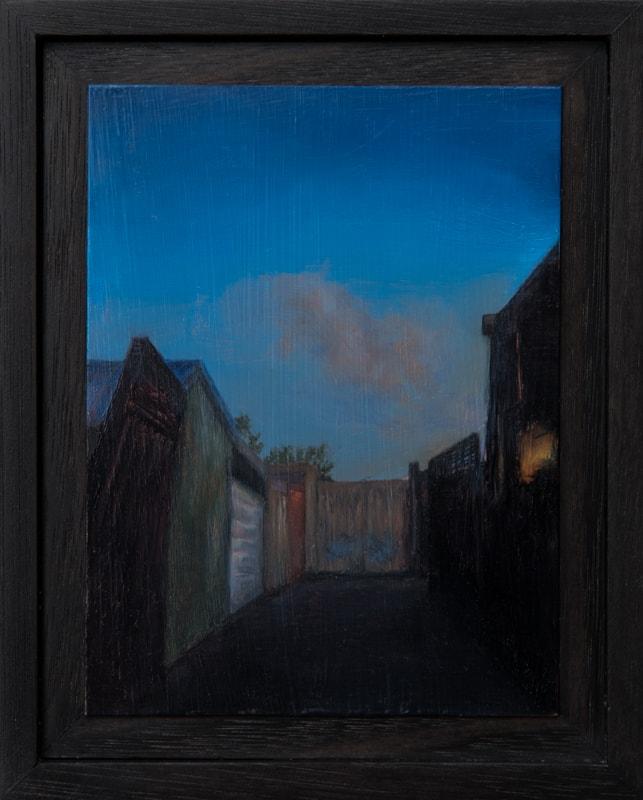 Kirrily Hammond, Melbourne Laneway, 2017, oil on copper, 12x9cm