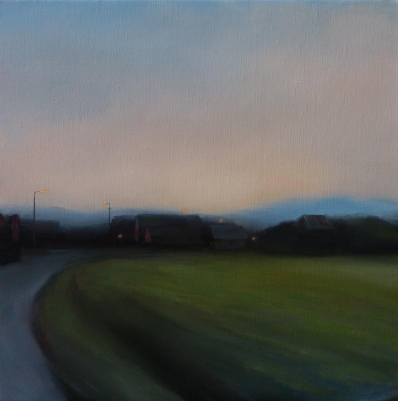 Kirrily Hammond, Rotselaar Field, 2017, oil on linen, 31x31cm