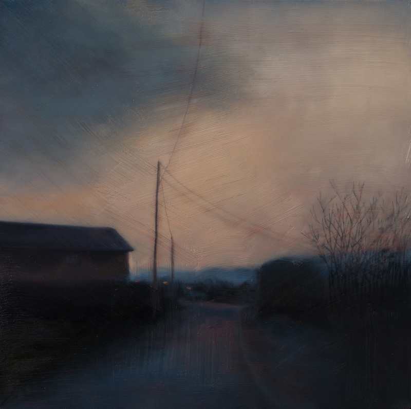 Kirrily Hammond, Rotselaar twilight 2017, oil on linen, 31x31cm