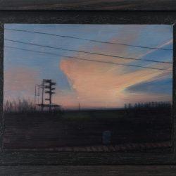 Kirrily Hammond, West Brunswick, Train Skyline, 2017, Oil On Copper, 9x12cm