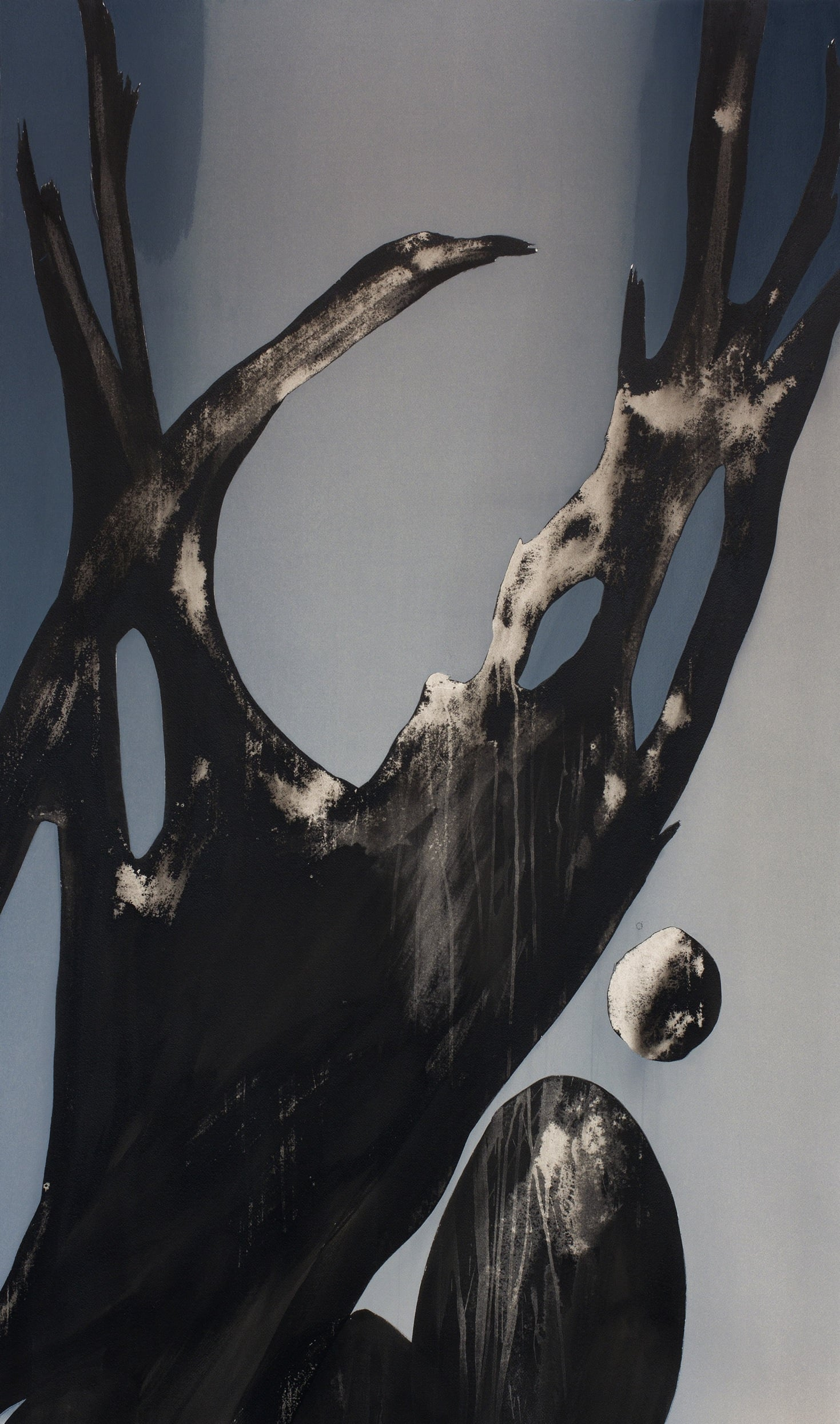 Kirstin Berg, Nest, pigment and ink on paper, 165x105cm