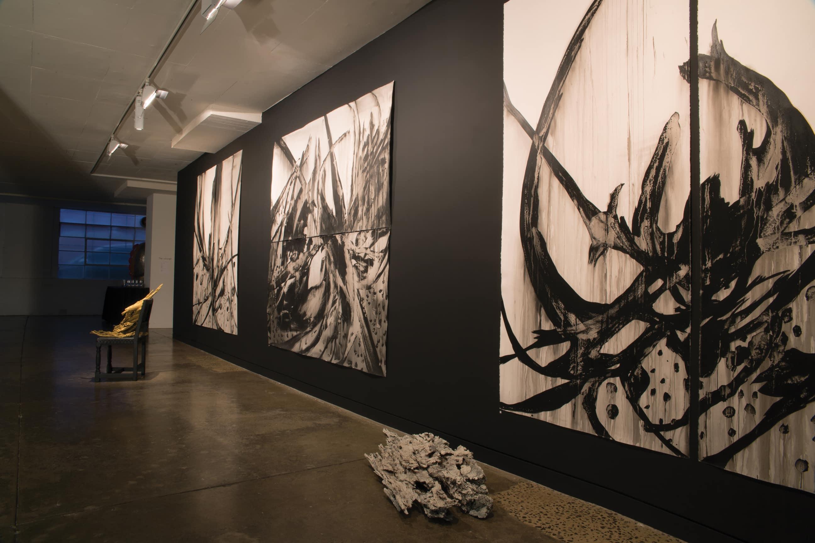 Tragedy's Cathedral install image of works on paper, 240x240cm each