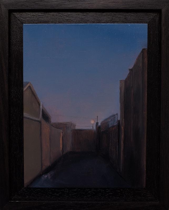 Kirrily Hammond, Laneway, oil on copper, 12x9cm