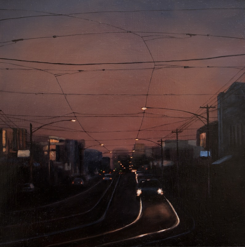Kirrily Hammond, Lygon St, Brunswick East, 2012, oil on linen, 30x30cm
