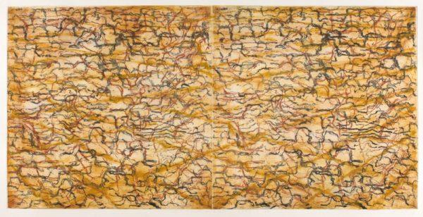 Martin King, Parchment, Rocky Ride, 2010, etching, pigment, encaustic on paper, 90x180cm