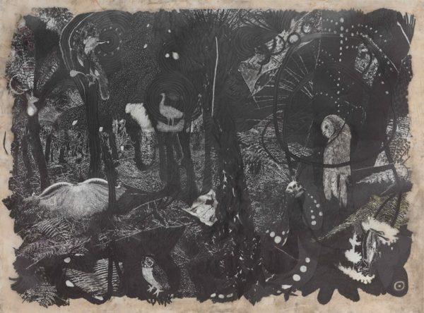 Martin King, recess I, graphite on drafting film, watercolour on paper, 125x190cm
