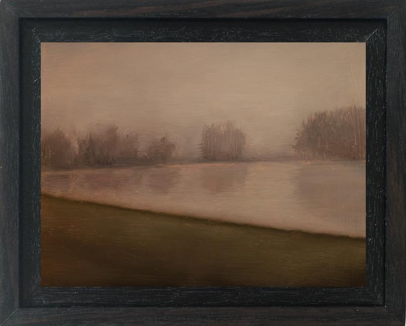 Kirrily Hammond, Train Skyline, oil on copper, 9x12cm