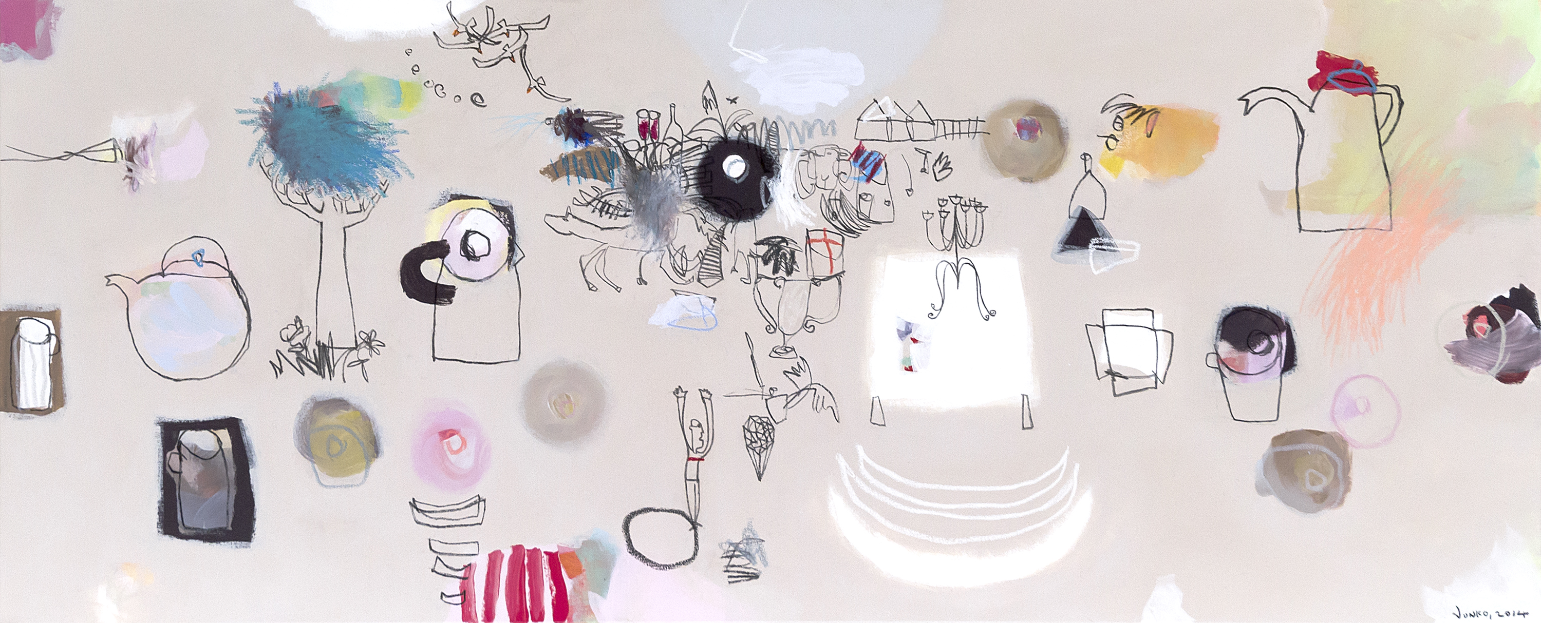 Junko Go, Ring Doughnut Syndrome, 2014, acrylic, oil pastel and charcoal on canvas, 59x140cm