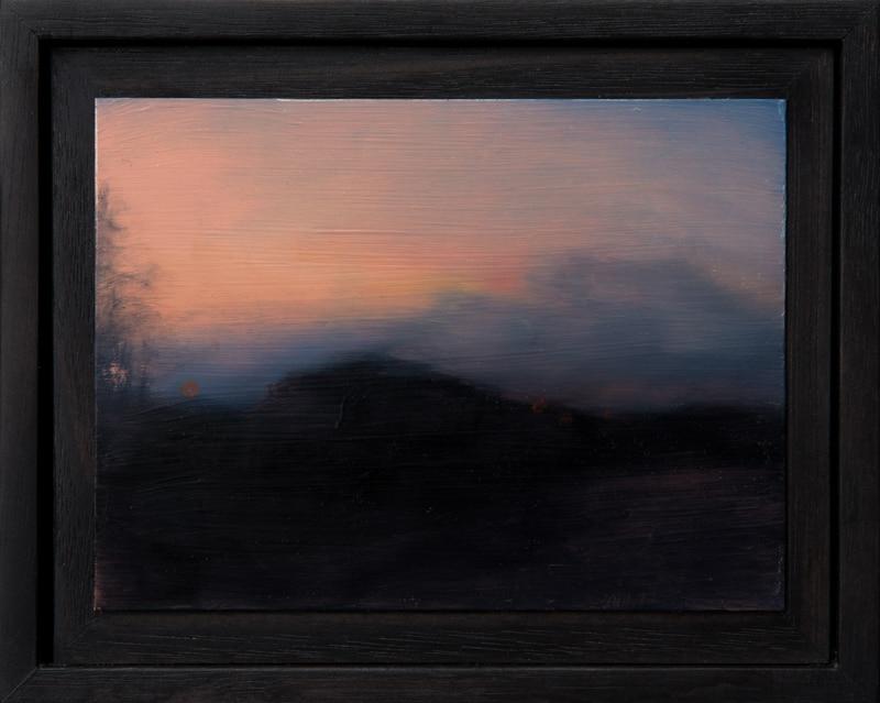 Kirrily Hammond, Roadside landscape, oil on copper, 9x12cm