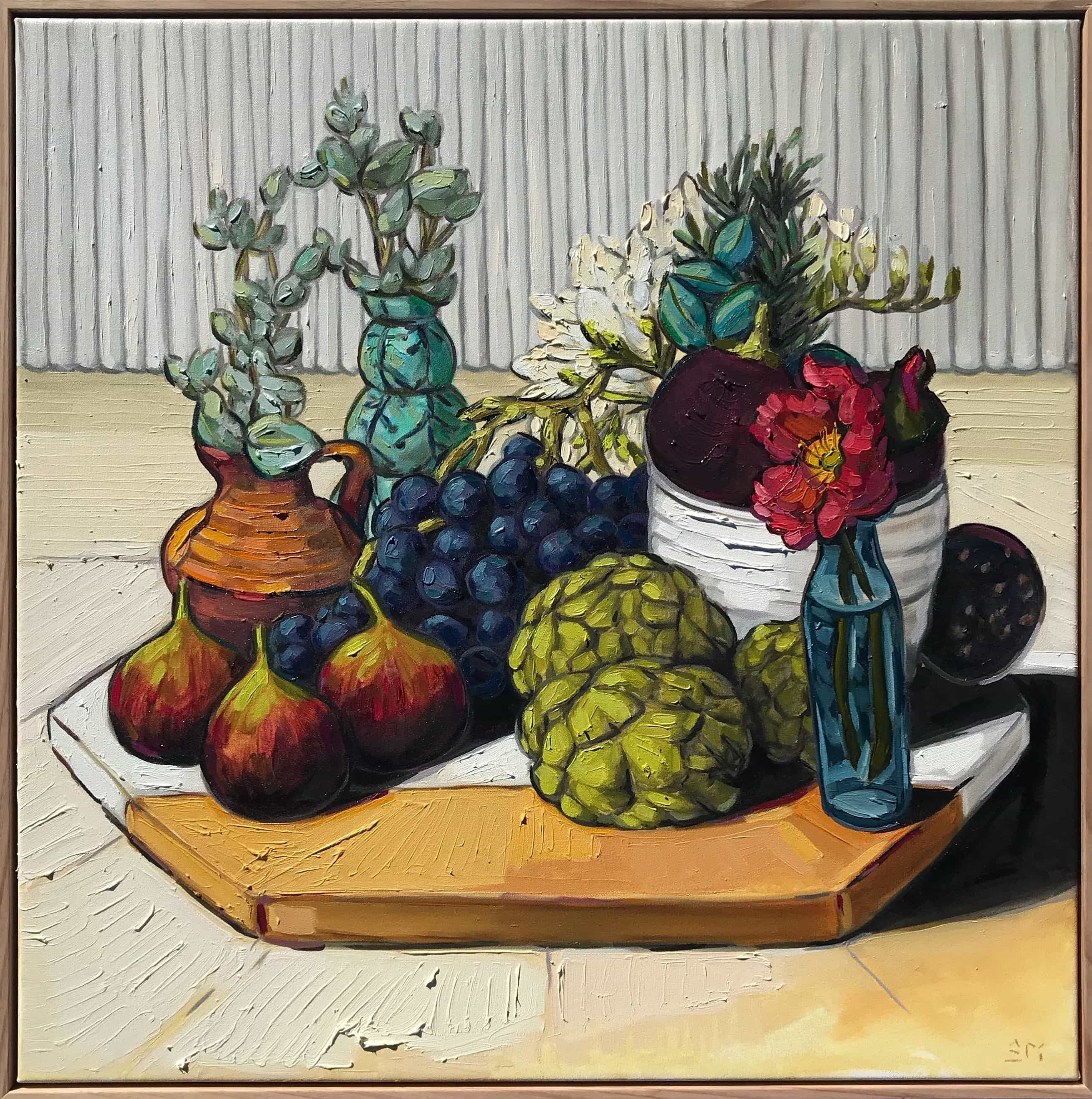 Sam Michelle, Arranged Grapes, Figs and Artichoke, 2018, 68x68cm