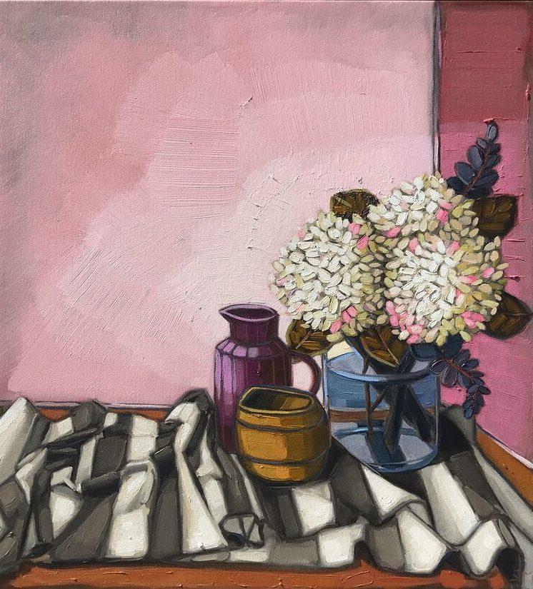 Sam Michelle, Hydrangeas and Pinks, 2017, 63x58cm