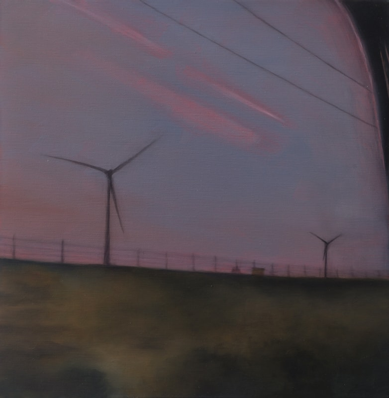 Kirrily Hammond, Windmills, Germany, oil on linen, 31x31cm