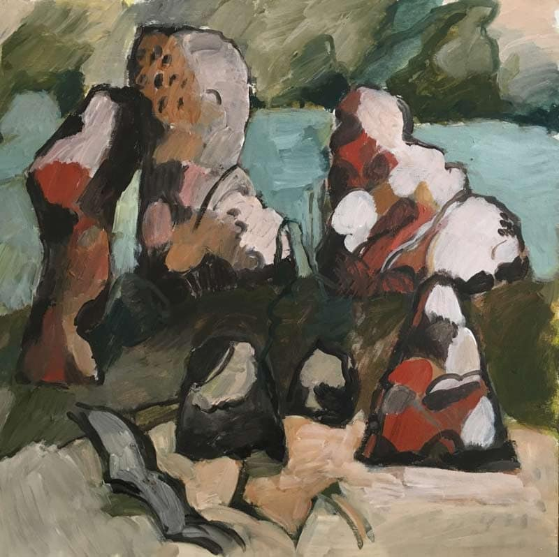 Charmaine Pike, The Gathering, acrylic on board, 60x60cm