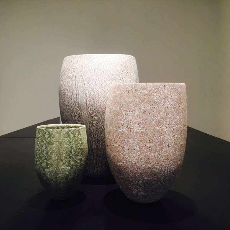 Ceramics by David Pottinger for his exhibition, Nerikomi, at Gallerysmith