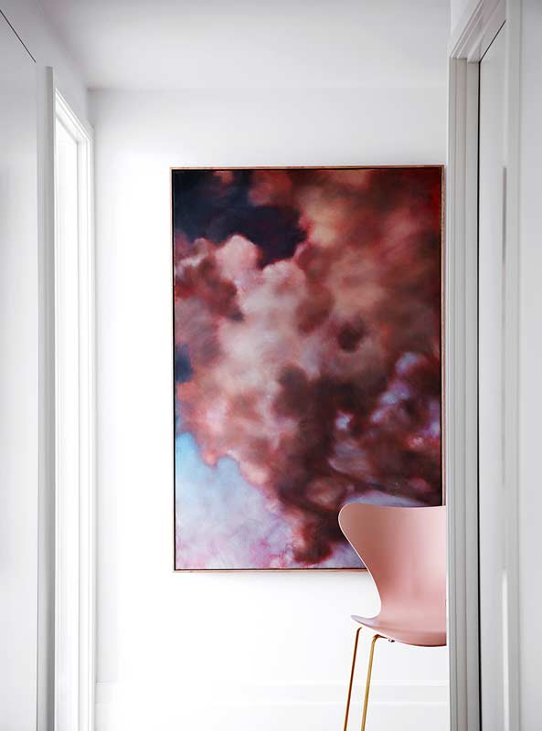 Dena Kahan, Cloud Paintings in the foyer of a St Kilda Rd penthouse apartment as featured in Belle magazine. Studio Tate design. Sharyn Cains photography.