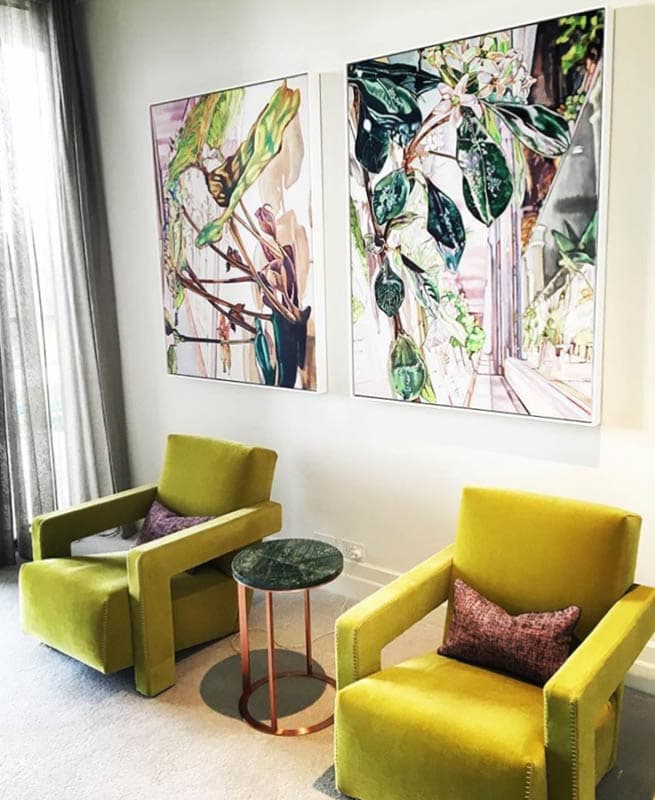 Dena Kahan paintings installed in a penthouse apartment with interiors by Studio Tate. Photography: Sharyn Cairns