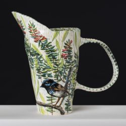 Fiona Hiscock, Heath And Blue Wren Pitcher, Approx. 32cm High
