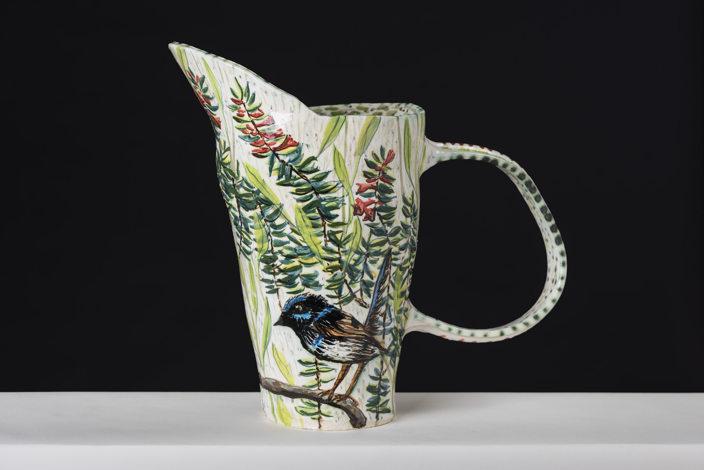 Heath And Blue Wren Pitcher By Fiona Hiscock