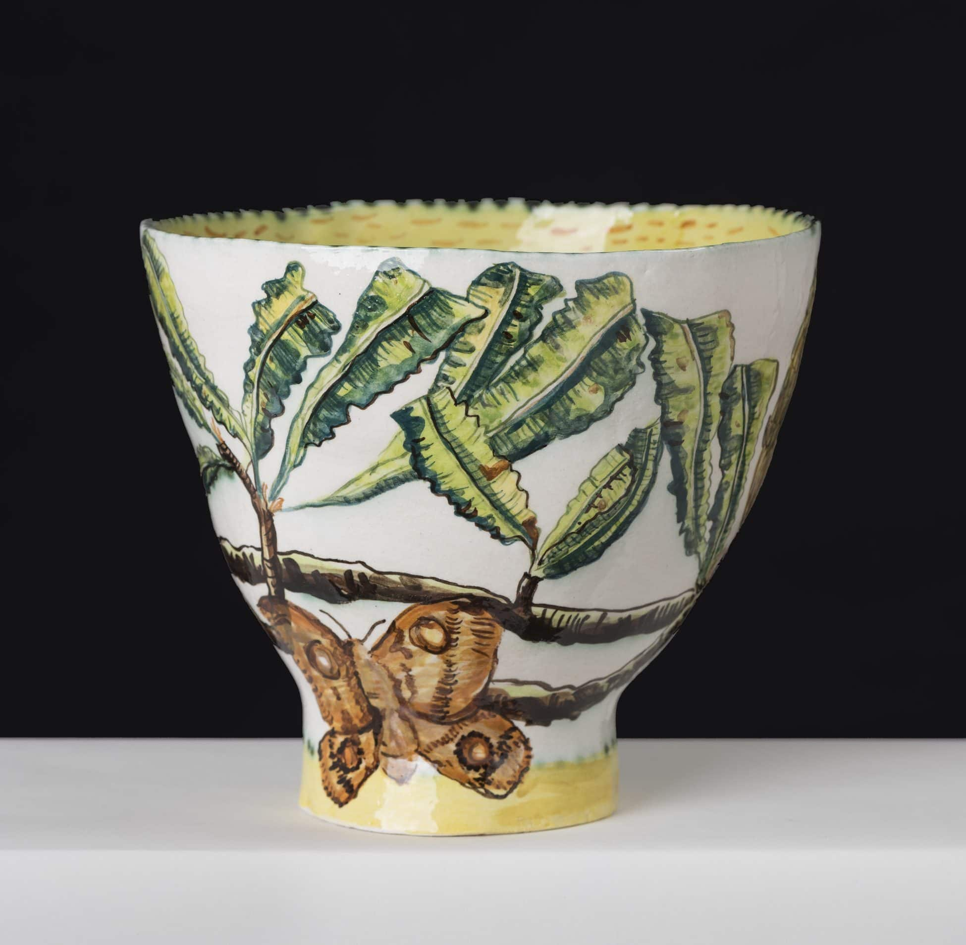 Fiona Hiscock, Banksia and Bogong Moth Bowl. approx. 23cm high