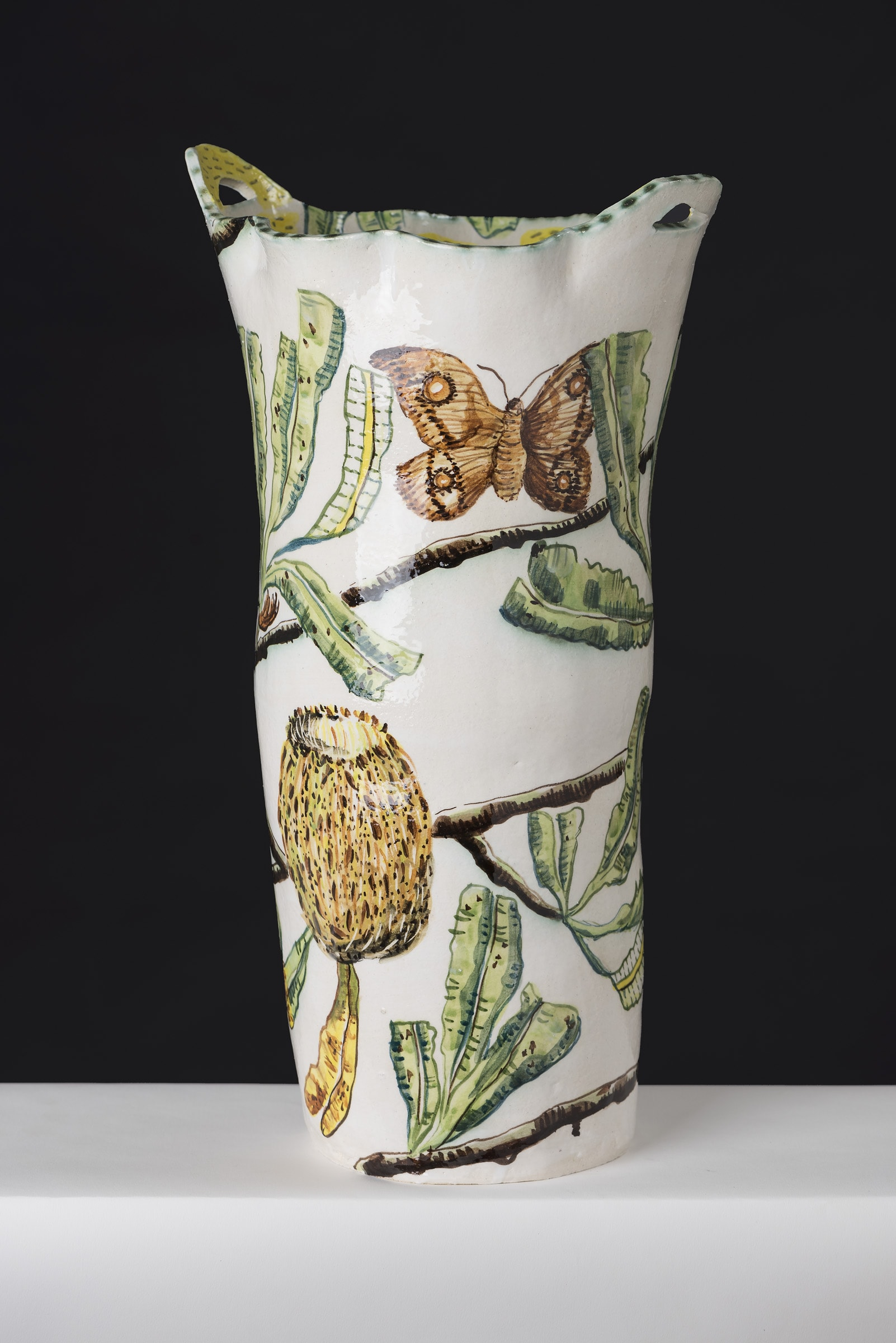 Vase With Banksia And Bogong Moth By Fiona Hiscock