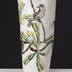 Vase With Banksia And Honeyeater By Fiona Hiscock