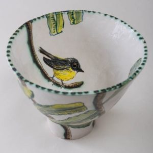 Banksia And Yellow Robin Bowl By Fiona Hiscock