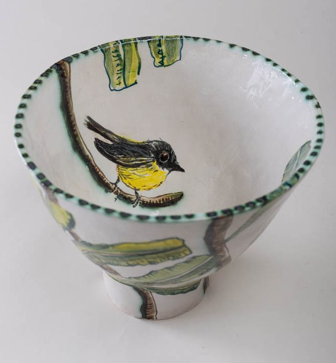 Fiona Hiscock, Banksia and Yellow Robin Bowl, 2017, stoneware, 23cm high, inside view