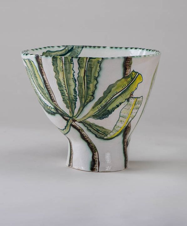 Fiona Hiscock, Banksia and Yellow Robin Bowl, 2017, stoneware, 23cm high, view 1