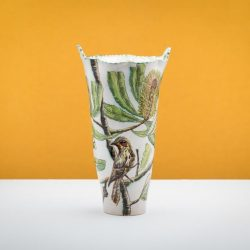 Fiona Hiscock, Banskia Serrata Vase With Wattle Bird, 43x24x20cm