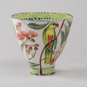 Flowering Gum Bowl With Two Birds By Fiona Hiscock