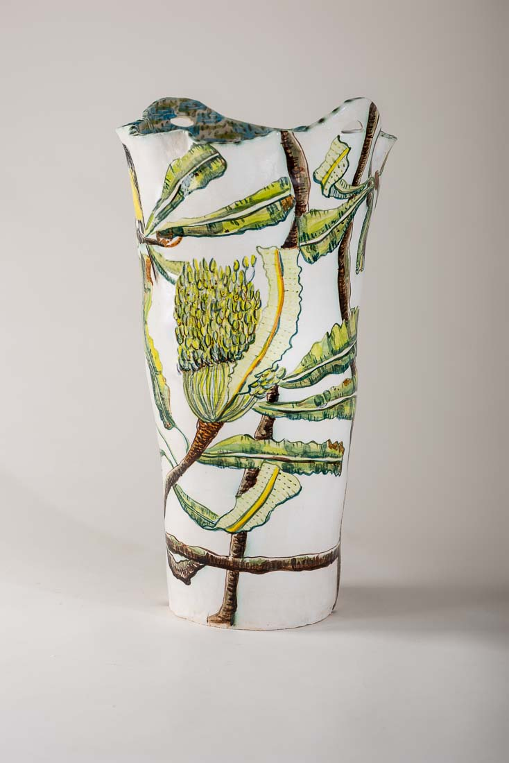 Fiona Hiscock, Large Vase with Banksia, 2017, stoneware, view 2