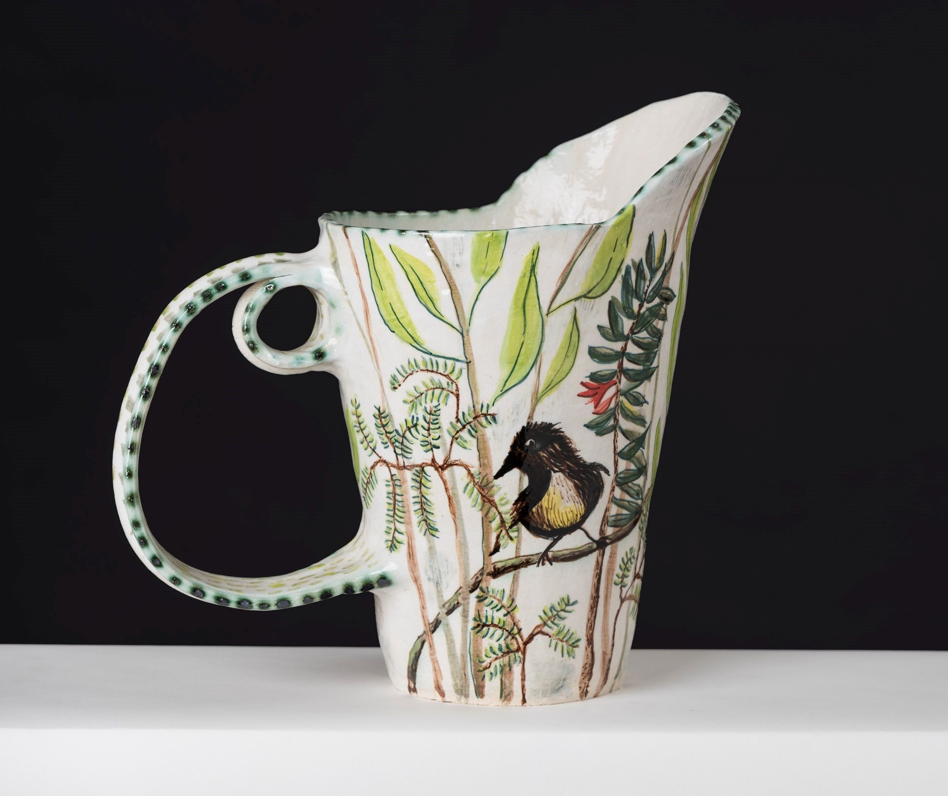 Heath And Yellow Robin Pitcher By Fiona Hiscock