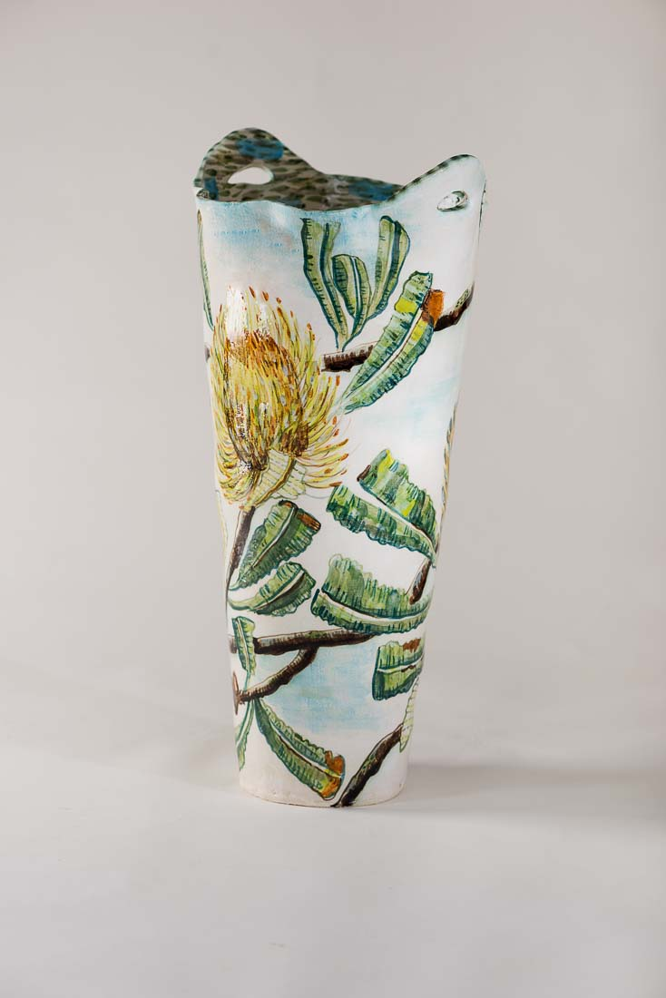 Fiona Hiscock Vase With Blue 2017 Stoneware View1
