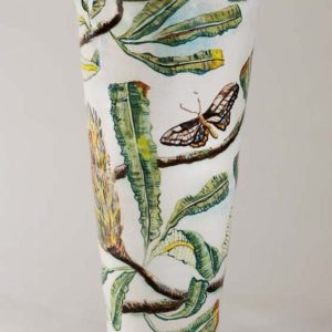 Fiona Hiscock, Banksia And Moth Vase With Handles, Approx. 42cm High