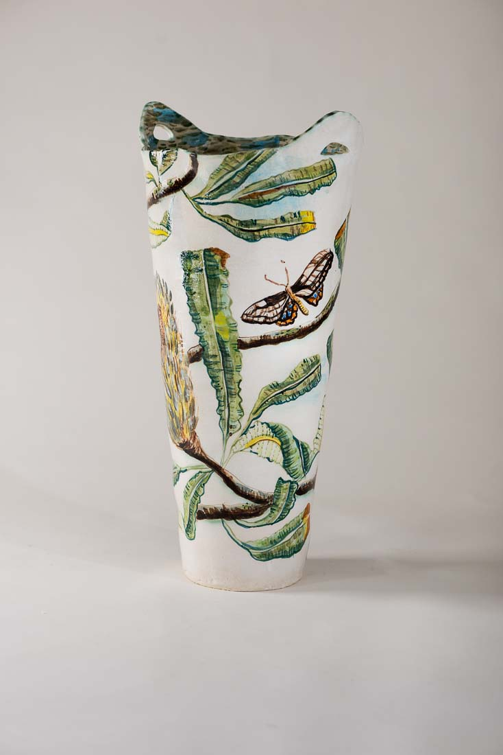 Vase With Banksia And Moth By Fiona Hiscock