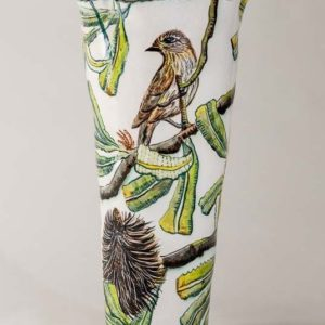 Banksia Vase With Honeyeater By Fiona Hiscock