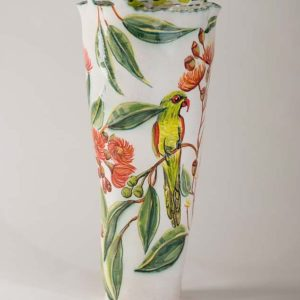 Fiona Hiscock, Flowering Gum Vase With Two Birds, 2017, Stoneware
