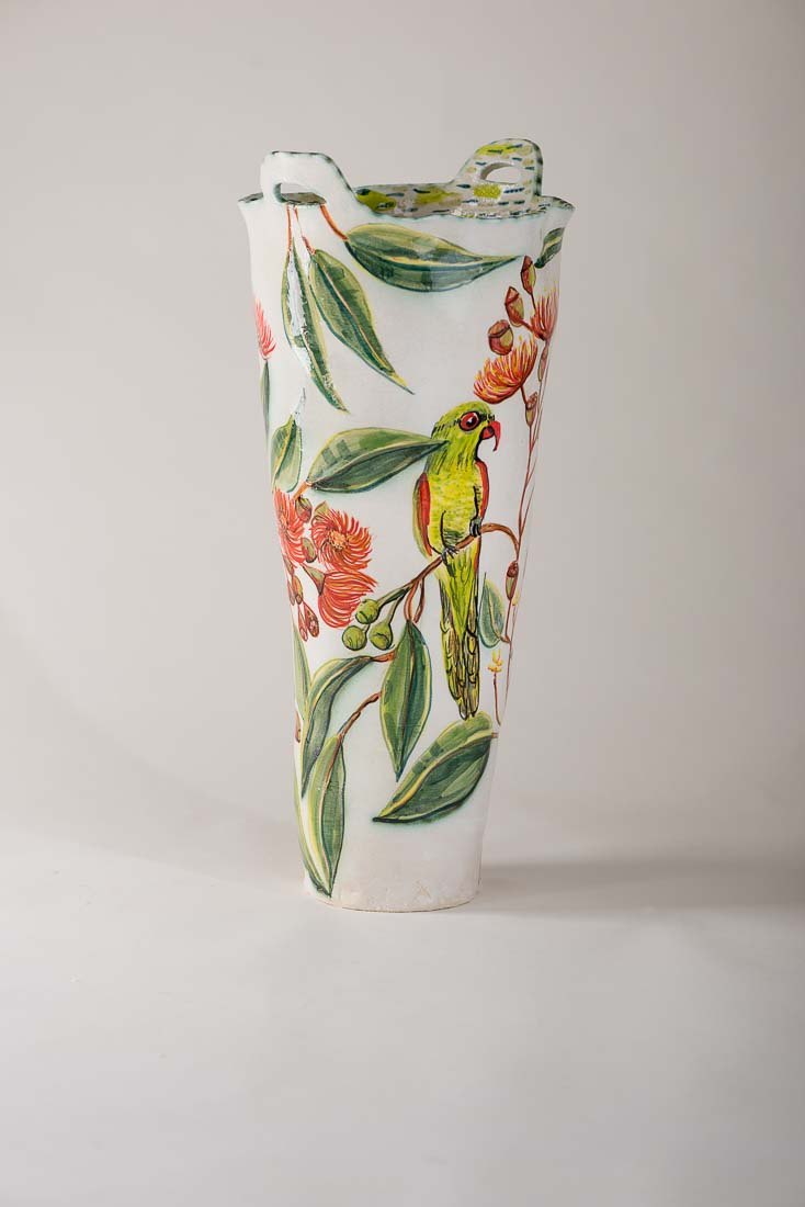 Fiona Hiscock Vase With Flowering Gum And Rosella 2017 Stoneware View1