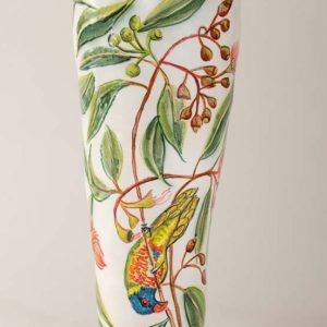 Vase With Flowering Gum And Birds By Fiona Hiscock
