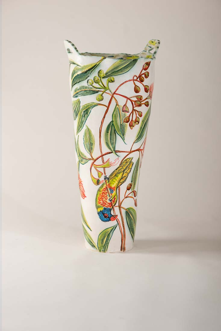 Vase With Flowering Gum And Birds And By Fiona Hiscock