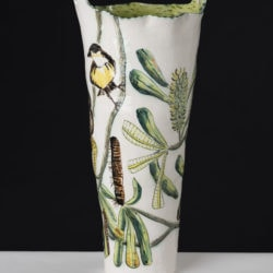 Fiona Hiscock, Banksia Vase With Yellow Robin, 2017, Stoneware, 41cm High, View 1Fiona Hiscock, Banksia Vase With Yellow Robin, 2017, Stoneware, 41cm High, View 1