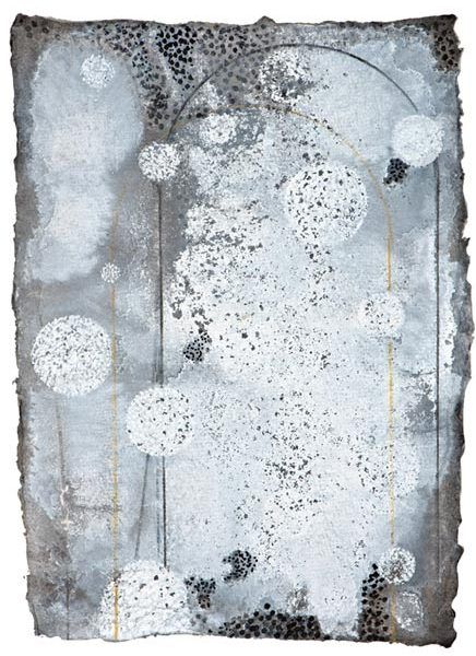 Ian Friend, City Ghosts set 2, no. 10, gouache, crayon, ink on paper.