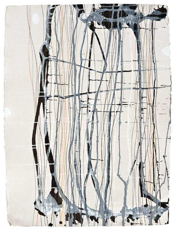 Ian Friend, Tracing the Paths of Memory II, 2010, Indian ink, gouache and crayon on Khadi paper, 76x56cm